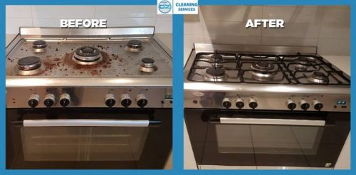 before and after cleaning stove